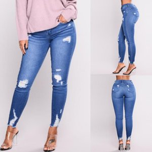 38# Fashion High Waist Jeans Shorts Women With Holes Denim Trousers Women In Elasticity And Small Feet Jeggings Jeans For
