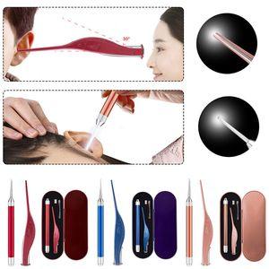2pcs Set Flashlight Earpick Spoon Ear Cleaner Device LED Light Wax Curette Remover Tools 3 Colors USB Baby Adult Flashlight Ears