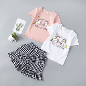 New girls summer clothes set children fashion cotton print tops+ shorts 2pcs for kids trasksuits sets girls casual clothing