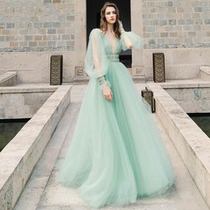 2020 Prom Dresses A Line V Neck Long Sleeve Sweep Train Evening Gowns With Beaded Sash Tulle Party Gowns