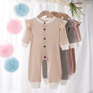 New Baby boys girls solid Rompers Infants Article Pit Clothes Infants Button Fly Sleeve Jumpsuits Boutique Kids Casual Jumpsuit M2404