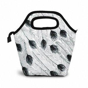Эму перо обед мешок обед / Ледовые сумки Портативный Изолированный Пикник Box Для женщин Для мужчин Mn4p #