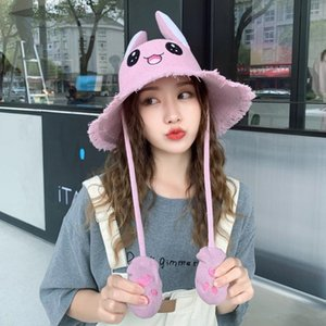 Fashion Female Cotton Knit Hat Autumn and Winter Move Ears Hat Cute Rabbit Visor Female Free Shipping