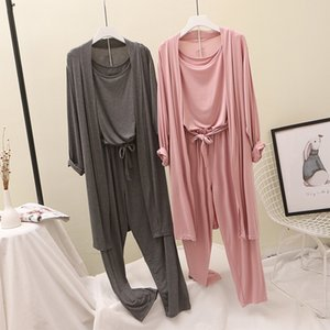 Modal Pajamas Suits Women Home Wear Fashion Goddess Cardigan+tank Top+pants Three-Pieces Set Outfit Lazy Wind Y200708