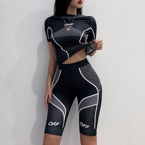 Hot Sale Sport Wear Sexy Women Skinny 2 Piece Set O Neck Short Sleeve Pullover T-shirt And Knee-length Pants Lady Outfits