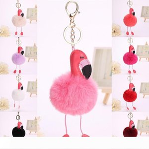 Fur Fluffy Flamingo Key Rings Pendant Fashion Jewelry Bags Hang Pendant Car Accessories
