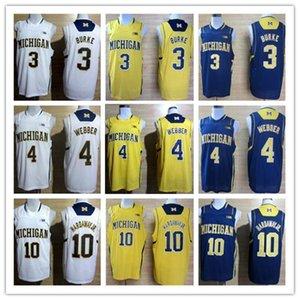 # 4 Chris Webber # 1 Glenn Robinson III # 10 Tim Hardaway Jr # 3 Trey Burke Wolverines du Michigan College Basketball Jersey XS-XXL Gilet Maillots Nc