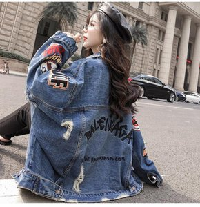 Ladies' Denim Jacket 2019 Women Basic Hip Hop Hole Jeans Jacket Lapel Single Breasted Fall Casual Loose Denim