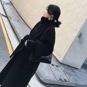 New Women Woolen Coat Thicken Long Sleeve Medium Long Turn Down Collar Open Front Parka Belt Coat Drop Shipping