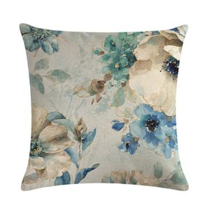4pcs Oil Painting Throw Pillow Covers Blue Flowers&Birds Decorative 18 x 18 Inch Y5GF