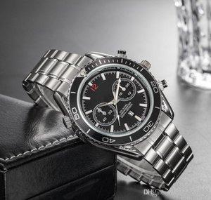 Nueva llegada de lujo para hombre de negocios relojes de diseño de acero inoxidable de plata deportiva correa de reloj brillante color de la esfera del reloj de pulsera con Fecha