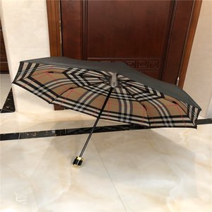 Anti UV Şemsiye Ekose Baskılı Katlama Şemsiyeler Kadın Erkek Delege Hediyesi için Taşınabilir Güneşli Yağmurlu Şemsiye