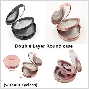 Double Layer caso cílios redonda com espelho de rosa de ouro preto cílios postiços caixa 2pairs de armazenamento caso cílios maquiagem cosméticos caso DHL livre