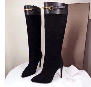 Yeni Geliş Fransa ünlü lüks Horsebit botlar kadın moda Gerçek Deri 10cm topuk çizmeler tasarımcı çizme kutusu ile modaya uygun yüksek topuk seksi
