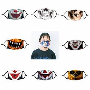 Masque drôle Halloween visage de citrouille crâne de clown Imprimer Masques Enfants Adutls Visage Anti-poussière Masque anti-buée avec PM2,5 Filtre Masques lavables