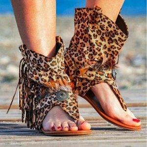 Sandálias femininas 2020 Tassel Leopard Print Sexy Clipe Toe Botas Mulher Gladiator Ladies Flats Praia Verão Sandales Female Shoes