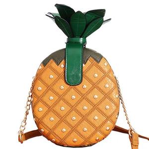 Abera2020 nuevo de las mujeres de piña Forma PU de cuero bolso encantador de la manera de la fruta bolso de las señoras mini cadena personalizada remache bolsa