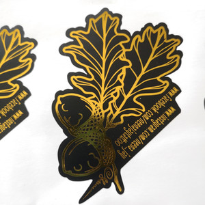 Custom order Shining Gold Foil hot stamping on Matte black PVC, Irregular die cut special-shaped, Item No. CU58