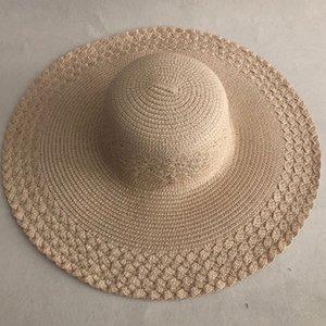 LVTZJ mulheres palha verão proteção praia dobrável protetor solar UV panamá chapeu chapéu osso grande aba larga feminino Y200619
