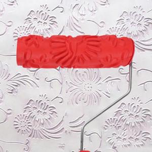 Mango de flores en relieve de madera del grano de madera del grano del rodillo de cepillo de rodillo principal de fondo de la pared decorativos pintura