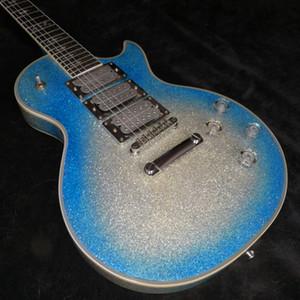 Custom Ace Frehley firma grande de la chispa azul metálico de plata de la explosión de la guitarra eléctrica del rayo embutido, 3 pastillas, Espejo Tapa del Tensor