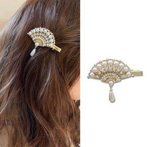 Women Hairpins Pearl Vintage Fan Tassel Hair Clips Bobby Pins Side Bangs Clips Barrettes Headwear Fashion Hair Jewelry Gifts Accessories New