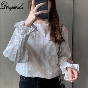 Dingaozlz autunno abbigliamento casual pizzo stile coreano Pullover manica Flare supera camicia camicetta casuale delle donne