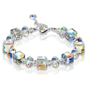 2020 New Ladies Bracelet Stained Glass Zircon Crystal Square Ball Bead Bracelet Exquisite And Stylish Feminine Jewelry