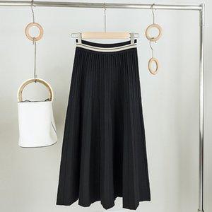 Sherhure 2020 Kadınlar Sonbahar Örme Pileli Uzun Etekler Faldas Jupe Femme Saia Vintage Kadınlar Yüksek Bel A-Line Siyah Etek