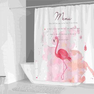 Pink Flamingo Duschvorhang Banana Leaf Strand 3D Digital Printing wasserdicht Duschwanne Badezimmer