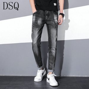 Mens Badge Rips Stretch Black Jeans Fashion Slim Fit Washed Motocycle Denim Pants Panelled Hip HOP Trousers