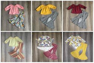 Girlymax bebê Outono / Inverno meninas crianças roupas vinho mostarda tarja rosa-sino calças de algodão roupas babados boutique