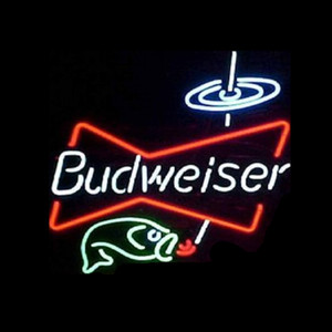 "Budweiser Fish Bowtie Neon Sign Handmade Custom Real Glass Tube Restaurant Beer Bar KTV Store Decoration Display Gift Neon Signs 17""X14"""