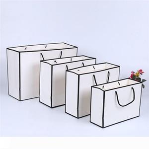 بطاقة بيضاء كرافت كيس ورقي ثخن الملابس هدية التسوق تغليف أكياس الملابس هدية كيس ورقي مع مقابض