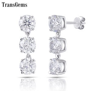 Transgems 14K 585 White Gold 3CTW 5mm FG Color Clear Moissanite Three Stone Drop Earrings Push Back for Women Y200620
