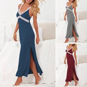 Frauen Sommer Sexy Riemchen Sundress Nachtwäsche Split Sleeveless V Ansatz Spitze Solide Negligée Fashion Home Kleid Plus Size