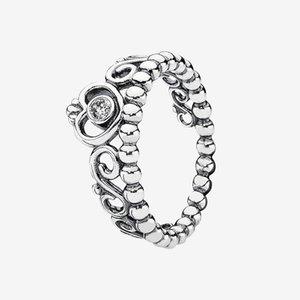 Jolie princesse femme Tiara Crown Bijoux 925 Sterling Silver Bijoux pour Pandora CZ Diamond Rings Set avec boîte originale