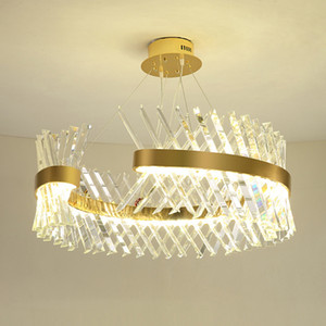 Modern gold crystal chandelier lighting for living room round led chandeliers bedroom dining room indoor lighting