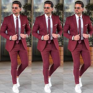 Elegantes chaquetas traje a medida Borgoña Hombres para Prom Party 2 piezas chaqueta y pantalones + Conjuntos de boda del novio de la solapa con muescas para hombre de esmoquin