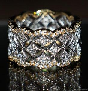 220pcs صغيرة الأبيض توباز المجوهرات الفاخرة الساخن 925 فضة مطلية بالذهب مقلد الماس الأحجار الكريمة خواتم الزفاف النساء لمحبي حجم 5-11