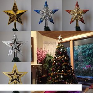 PF Christmas Tree Topper Star Plastic Christmas Star Tree Topper for Table Decor Colorful Craft Xmas DIY Accessories