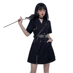 2020 new summer fashion black dress short-sleeved double-breasted suit skirt stand collar ins Harajuku bf wind tooling skirt