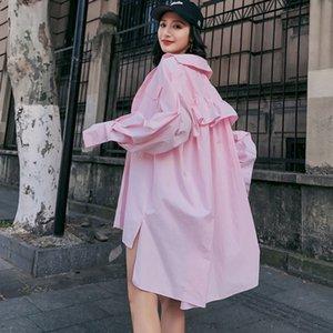 LANMREM 2020 Summer Antumn New Fashion Tied Sunscreen Coat Turn-down Collar Ruffles Pockets Loose Long Sleeve Women Shirt EF433