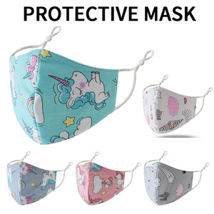 Arco-íris Unicórnio 3D Impresso crianças desenhador rosto máscara de poeira máscara protetora ajustável e haze máscaras respirável 5252