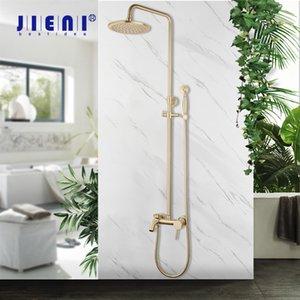 Jieni Brushed Goldenes Rundregen Badezimmer Dusche Wasserhahn Wand befestigter Badewannen-8-Zoll-Duschkopf mit Hand-Hahn-Dusche-Satz