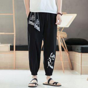 Erkek Pantolon Nakış Erkekler Geniş Bacak Erkek 2021 Boy Koşu Erkek Rahat Pantolon Sonbahar Harajuku Stil Harem 5XL