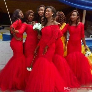 2020 South Africa Red Mermaid Bridesmaid Dress Off the Shoulder 3 4 Sleeve Lace Appliques Wedding Guest Gown Tulle Bottom Prom Wear