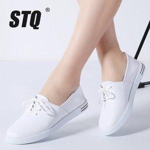 STQ 2020 Sonbahar Kadın Flats Ayakkabı Kadınlar Lace Up Beyaz Düz loafer'lar Ayakkabı Bayanlar Ballet Flats Kadın Oxfords Tekne 695