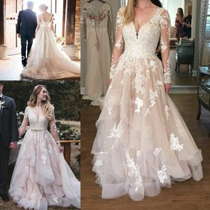 2020 Country Wedding Dresses A Line V Neck Long Sleeve Sweep Train Bridal Gowns With Lace Applique Tiered Wedding Gowns