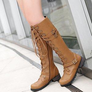 SWQZVT 2020 Frühling und Herbst kniehohe Stiefel Frauen Art und Weise Niet Ledergürtel Ritter Stiefel Frauen lässige Schnürung Leder